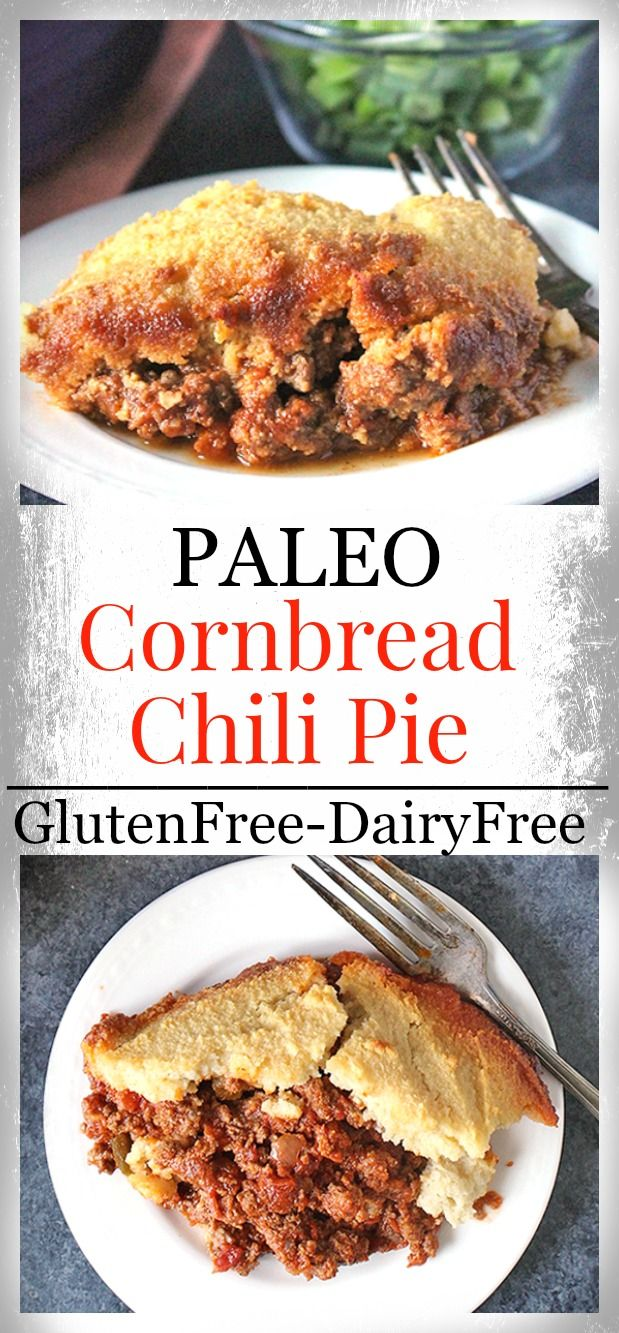 Paleo Cornbread Chili Pie- gluten free, dairy free, and so delicious! A heart, satisfying meal the whole family will love.