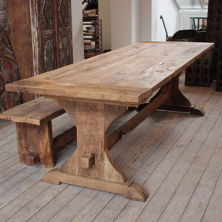 reclaimed oak monastery dining table by mobius living | notonthehighstreet.com