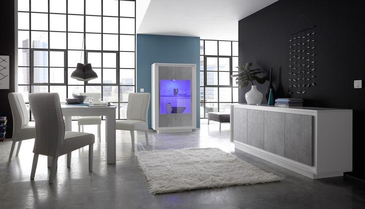 Complete woonkamer inboedel Sky uitgevoerd in de kleurencombinatie Mat wit met Betonlook fronten