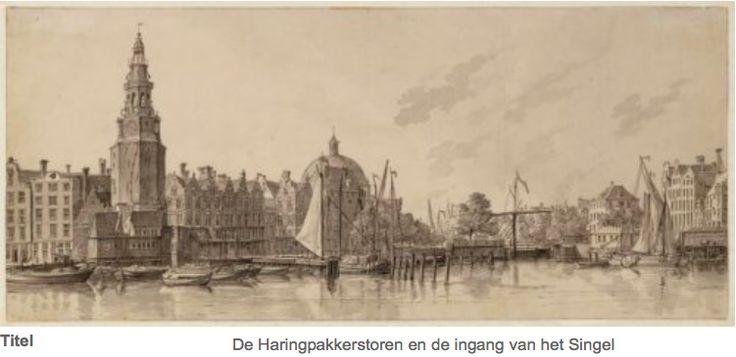 Haringpakkerij 2 uiterst links. Nu Prins Hendrikkade 14 Woonhuis Jan de Mooij rond 1834