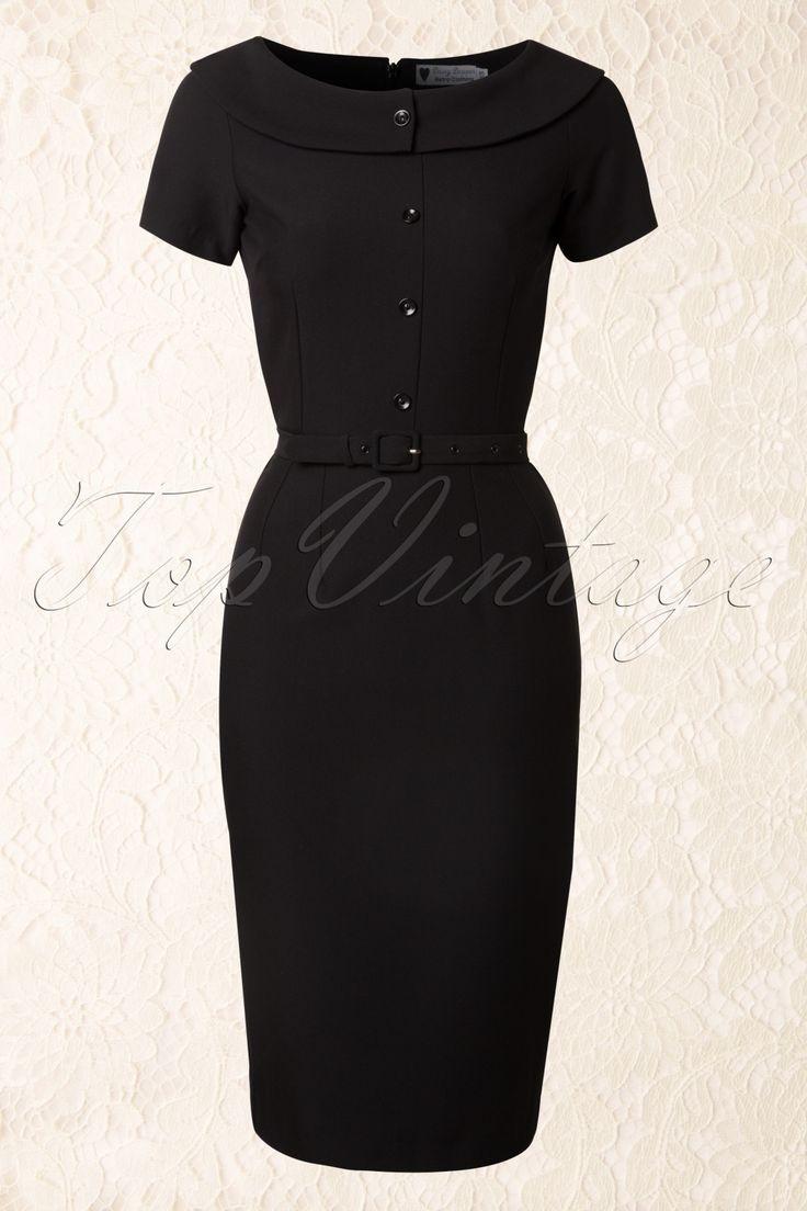 Daisy Dapper - 50s Joan Pencil Dress in Black