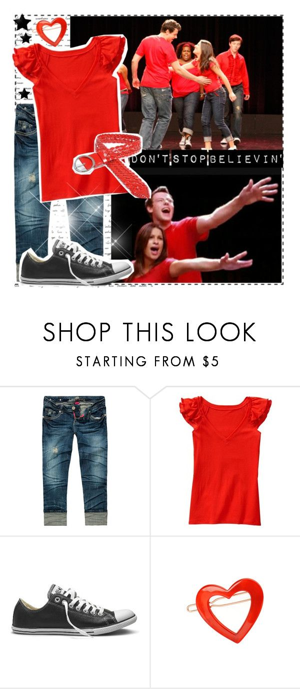 """""""Dress Like Glee: Don't Stop Believing"""" by broadway-fairy ❤ liked on Polyvore featuring Almost Famous, Old Navy, Converse, France Luxe, Mooiee, glee, don't stop believing and dress like"""