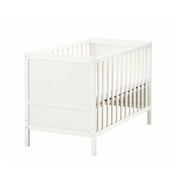 Ikea Sundvik crib. Has a 7 inch clearance underneath, perfect for rubbermaid underbed storage boxes (and who couldn't use more storage in the nursery?)