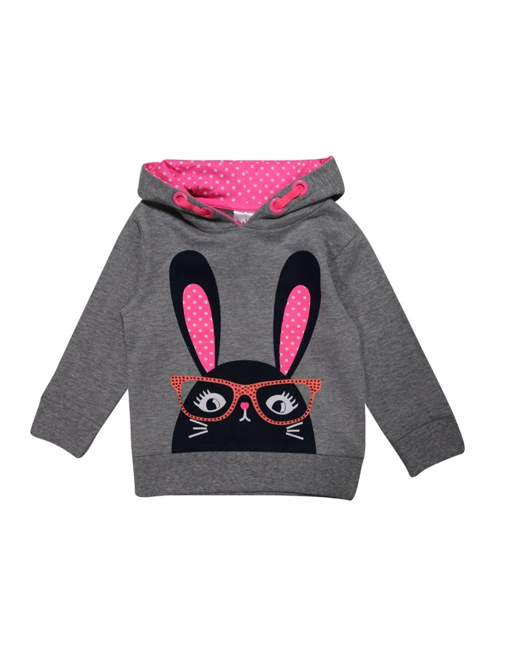 Younger Girls Printed Bunny Hoody