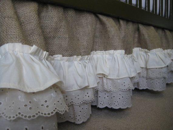 Burlap ruffle crib skirt on etsy nursery ideas for Burlap and lace bedroom