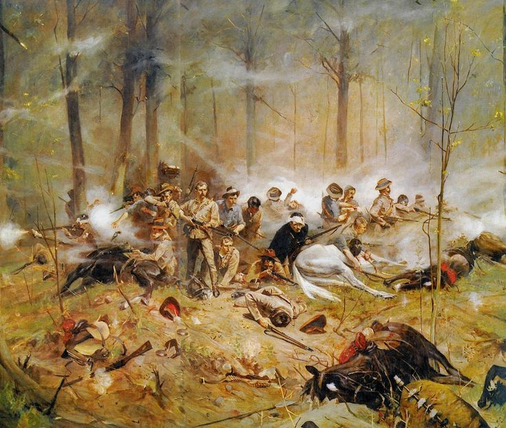 La batalla final de la patrulla Shangani en 1893. Artista Allan Stewart. http://www.elgrancapitan.org/foro/viewtopic.php?f=21&t=11680&p=915964#p915885