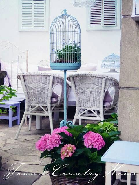 White and blue country patio!