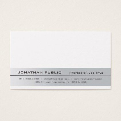 Elegant Modern Professional Silver Simple Plain Business Card - trendy gifts cool gift ideas customize