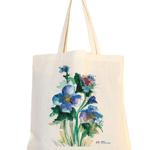 Cotton bag with watercolor