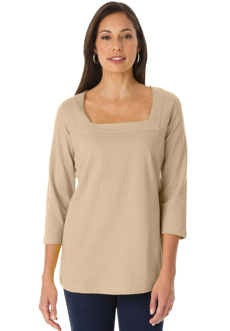 Tee with Square Neck