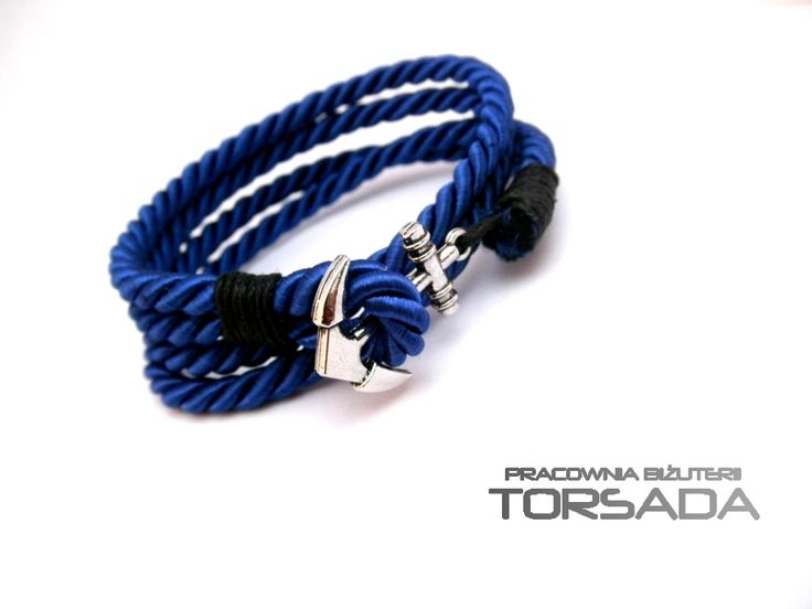 Bransoletka MĘSKA kotwica marynarska sznur KOLORY