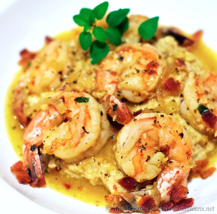 "Lemon Garlic Shrimp over Cauliflower Mash - one of my all time favorites in my own version of shrimp and ""grits"" ... roast the shrimp on a cookie sheet with just a touch of lemon-garlic-olive oil for less of a liquidy mess"