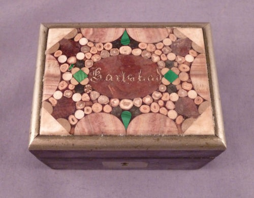Antique Karlsbad Pietra Dura Inlayed Stone Small Wooden Box c1900 Micro Mosaic | eBay