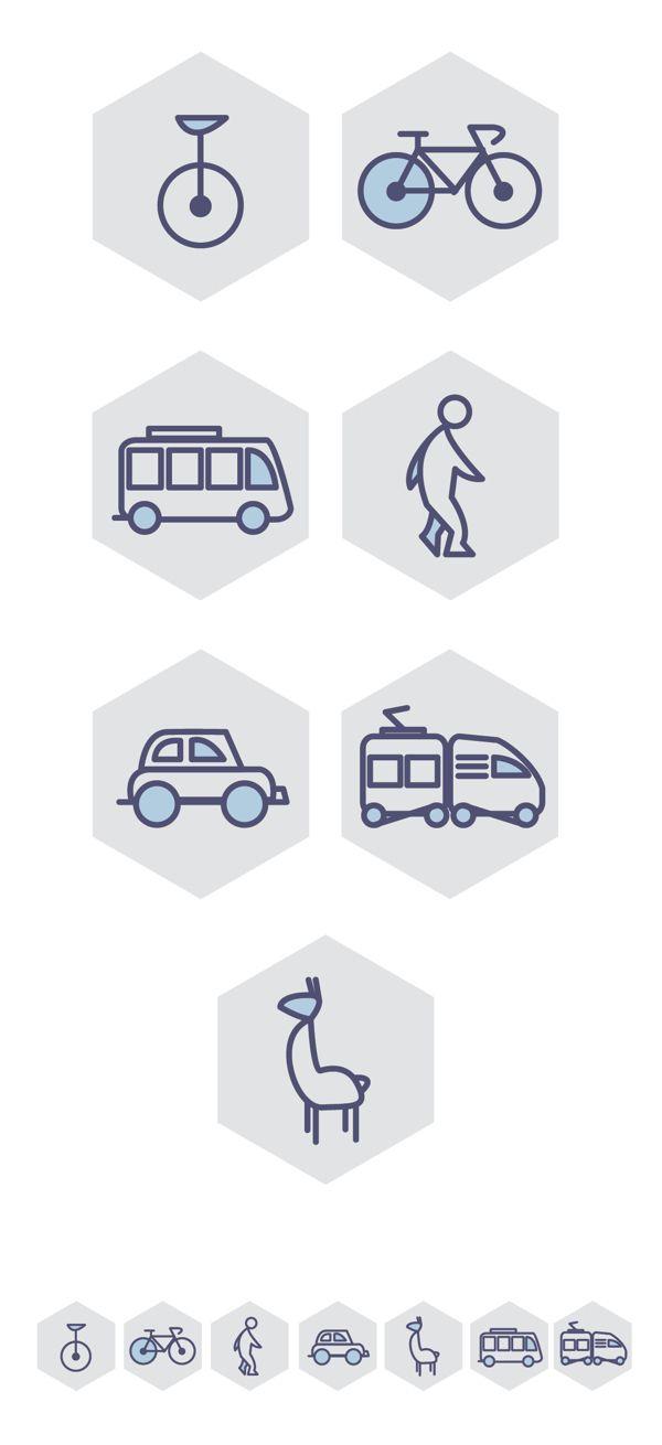 Transport icon set // Choose your way by Mariagloria Posani, via Behance