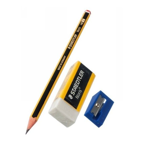 Staedtler Noris HB Pencil Set ❤ liked on Polyvore featuring home, home decor, office accessories, plastic pencil cases, plastic pencil pouch et plastic eraser