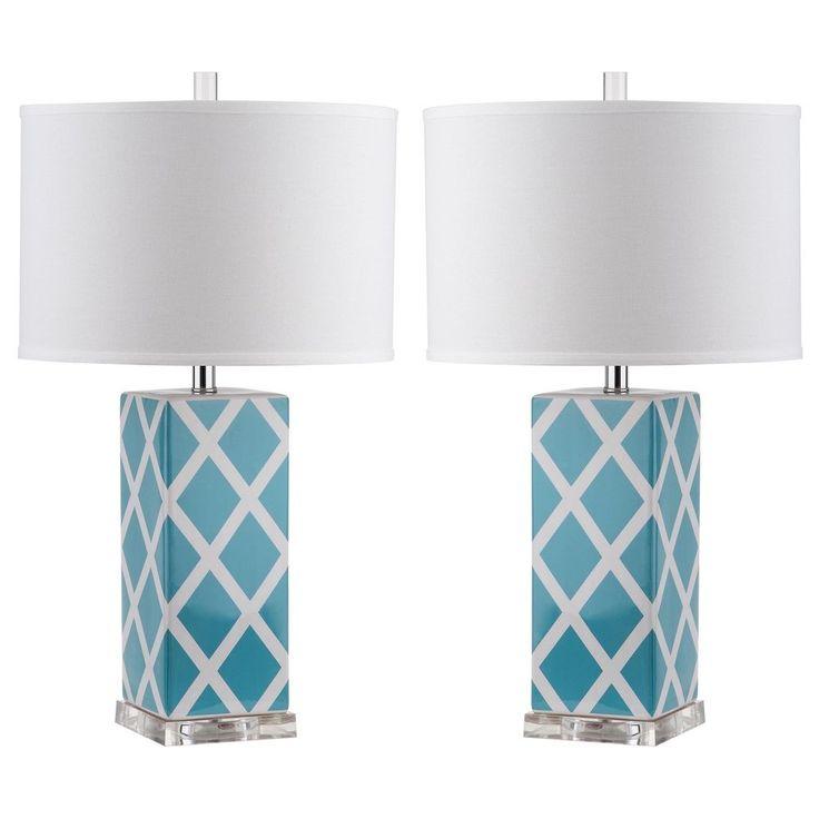 Safavieh Lighting 27 Inch Light Blue Garden Lattice Table Lamp Set Of 2