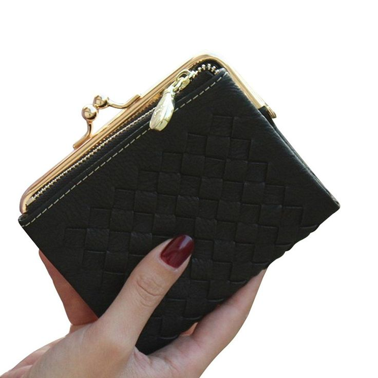 Badiya Fashion Girls Womens Leather Woven Card Holder Wallet Mini Clutch Purse -- Learn more by visiting the image link.