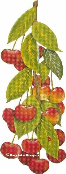 Melissa Shirley Designs | Hand Painted Needlepoint | Cherries