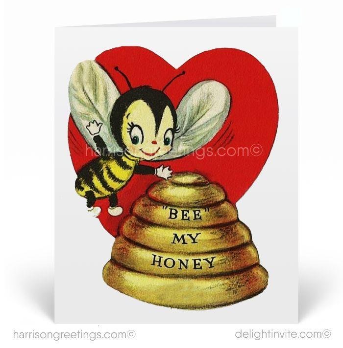 1950s Honey Bee Vintage Valentines Day Cards Retro Valentines Bee