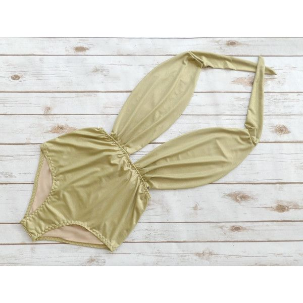 Swimsuit High Waisted Gold Sparkle Glitter Vintage Style One Piece... ($56) ❤ liked on Polyvore featuring swimwear, one-piece swimsuits, silver, women's clothing, one-piece bathing suits, halter-top one-piece swimsuits, sexy one piece bathing suits, one piece swim suit and sexy one piece swimwear