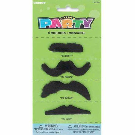 Fake Mustache Party Favors, 4-Count, Size: 2 inch - 3 inch, Black