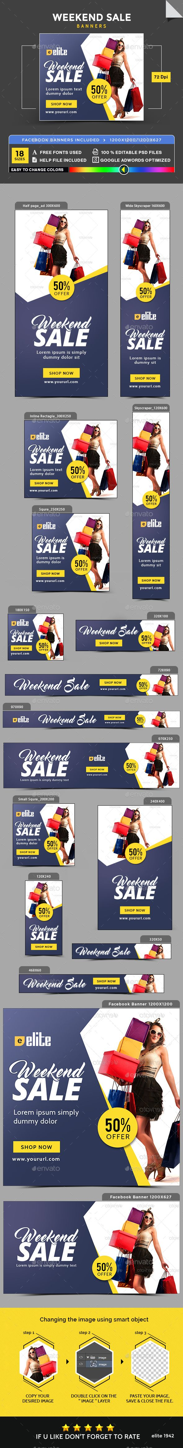 Weekend Sale Banners - Banners & Ads Web Elements Download here : https://graphicriver.net/item/weekend-sale-banners/18675483?s_rank=209&ref=Al-fatih