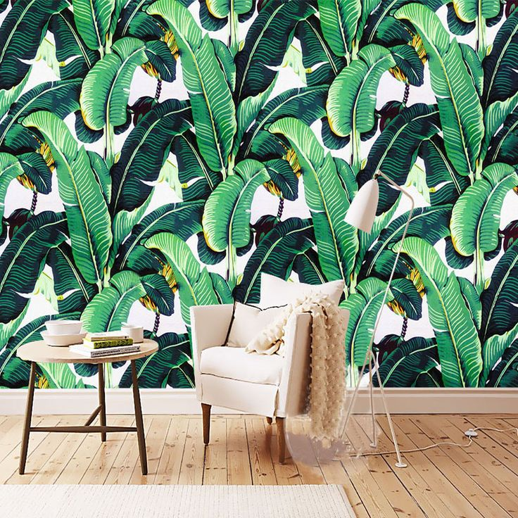 Custom Wall Mural Wallpaper European Style Retro Hand Painted Rain Forest Plant Banana Leaf Pastoral Wall Painting Wallpaper 3D