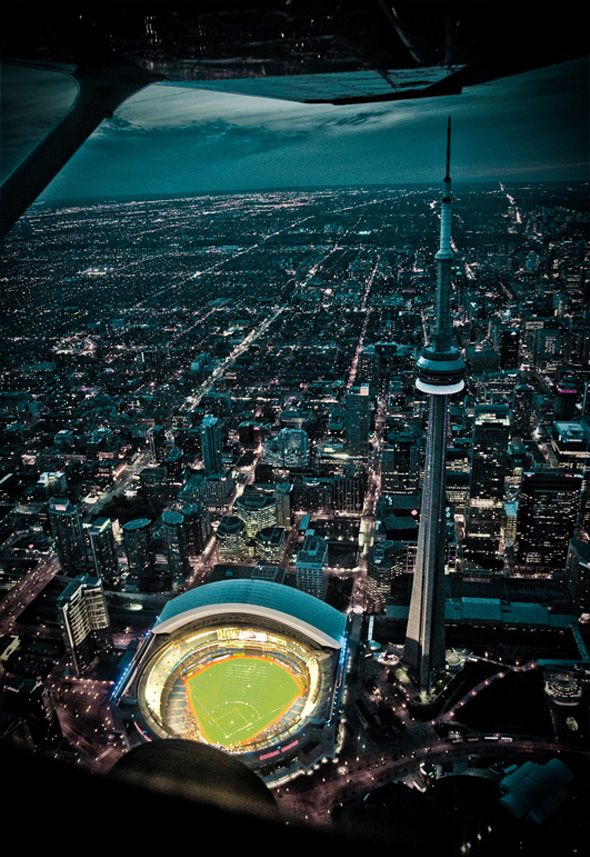 Amazing aerial view of the sky dome and CN Tower #Toronto