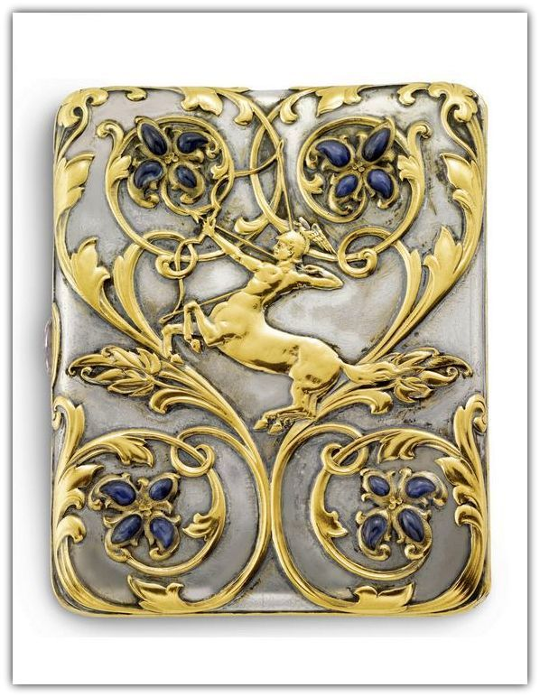 A Silver, Gold and Sapphire Cigarette Case, Tiffany & Co., New York, design attributed to Paulding Farnham, 1901.: