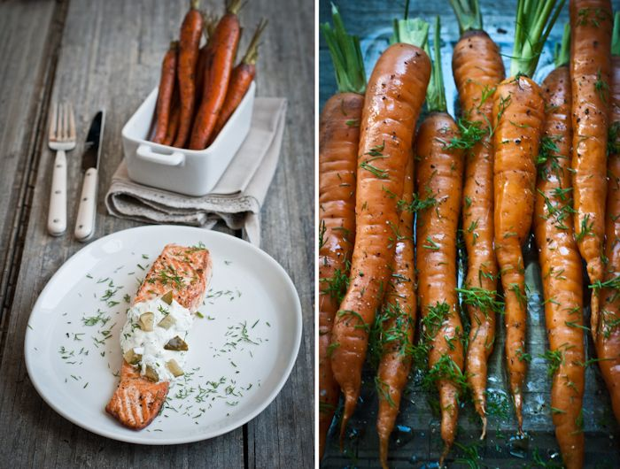 Salmon with dill sauce and roasted carrots. #nom #foodie #paleo # ...