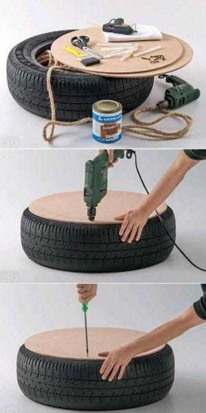Leuidee met een autoband.