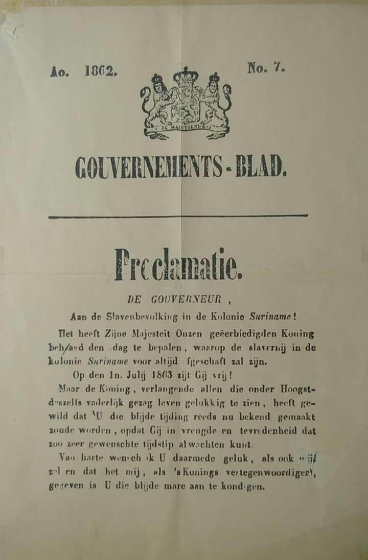 Proclamatie afschaffing slavernij in Suriname