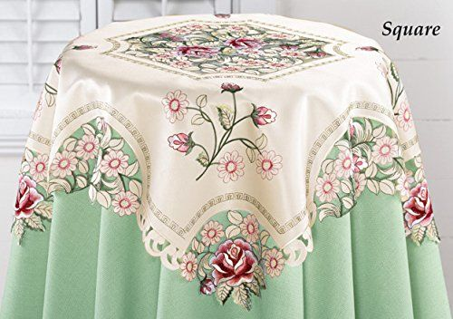 Embroidered Pretty Pink Roses Decorative Table Square