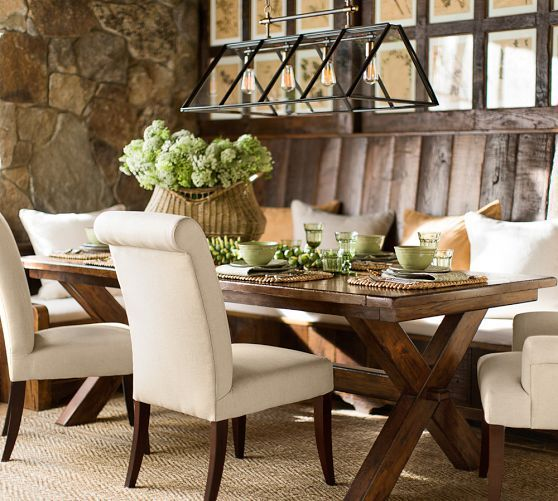Toscana extending rectangular dining table pottery barn for Dining table without chairs