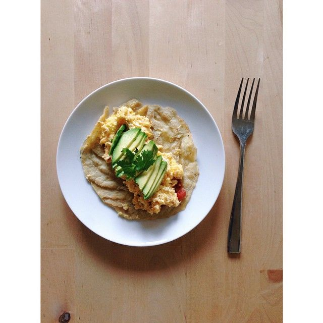 Eggs, tomatoes, cilantro and avo in @stupideasypaleo tortillas.