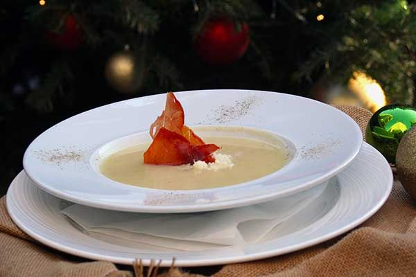 Veloute potato soup with leek and prosciutto with grated parmesan.Paparouna Wine Restaurant & Cocktail Bar | Christmas Eve plates!!!
