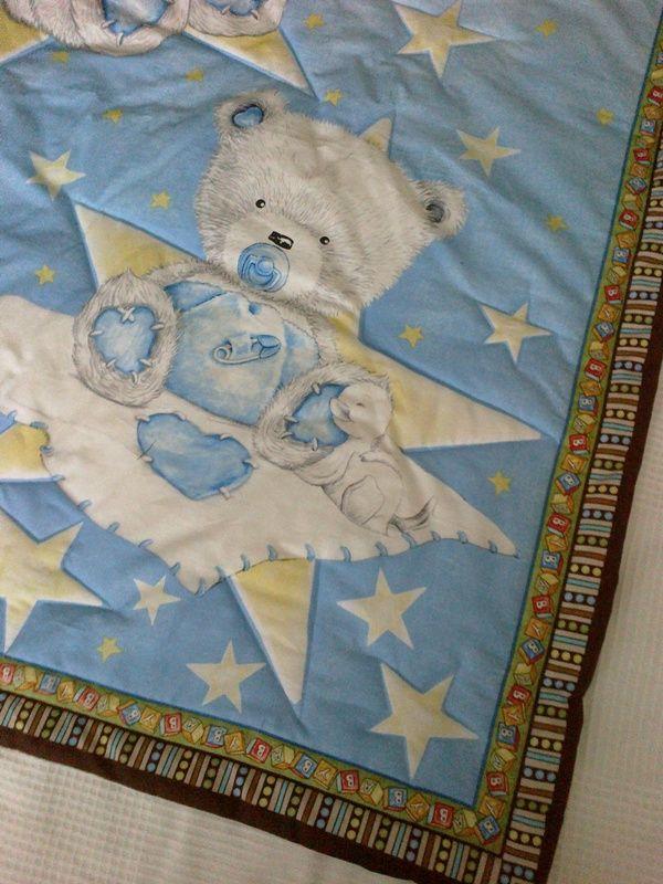 Detské sny Detská deka s krásnym medvedíkovým motívom, do postieľky, na prebaľovanie, na váľanie... materiál: 100% bavlna výplň: antialergické rúno veľkosť: 108x87