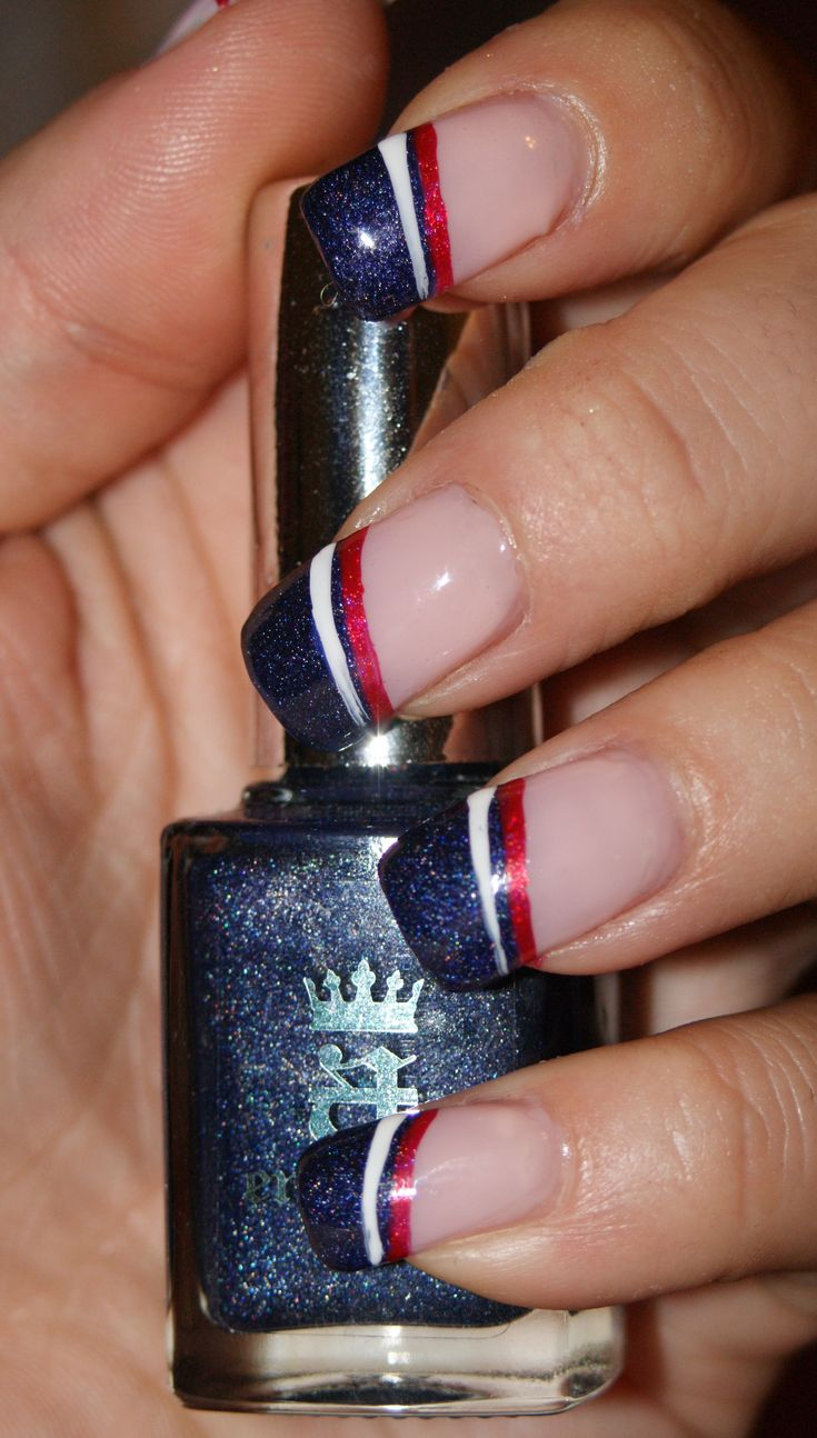 July 4th Nails - a-England Tristam, OPI DS Ruby, and Stripe Rite White