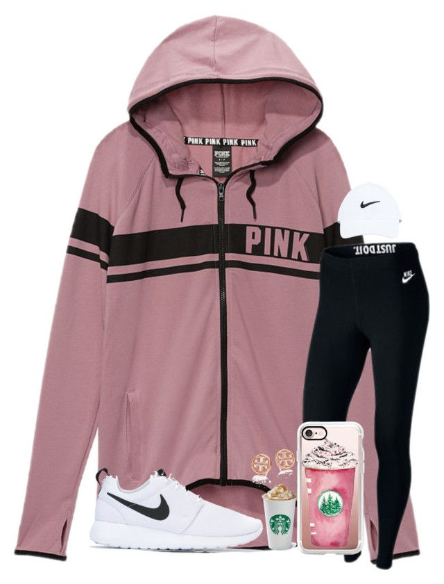 PSL lazy day by kari-luvs-u-2 ❤ liked on Polyvore featuring Victorias Secret, NIKE, Casetify and Tory Burch