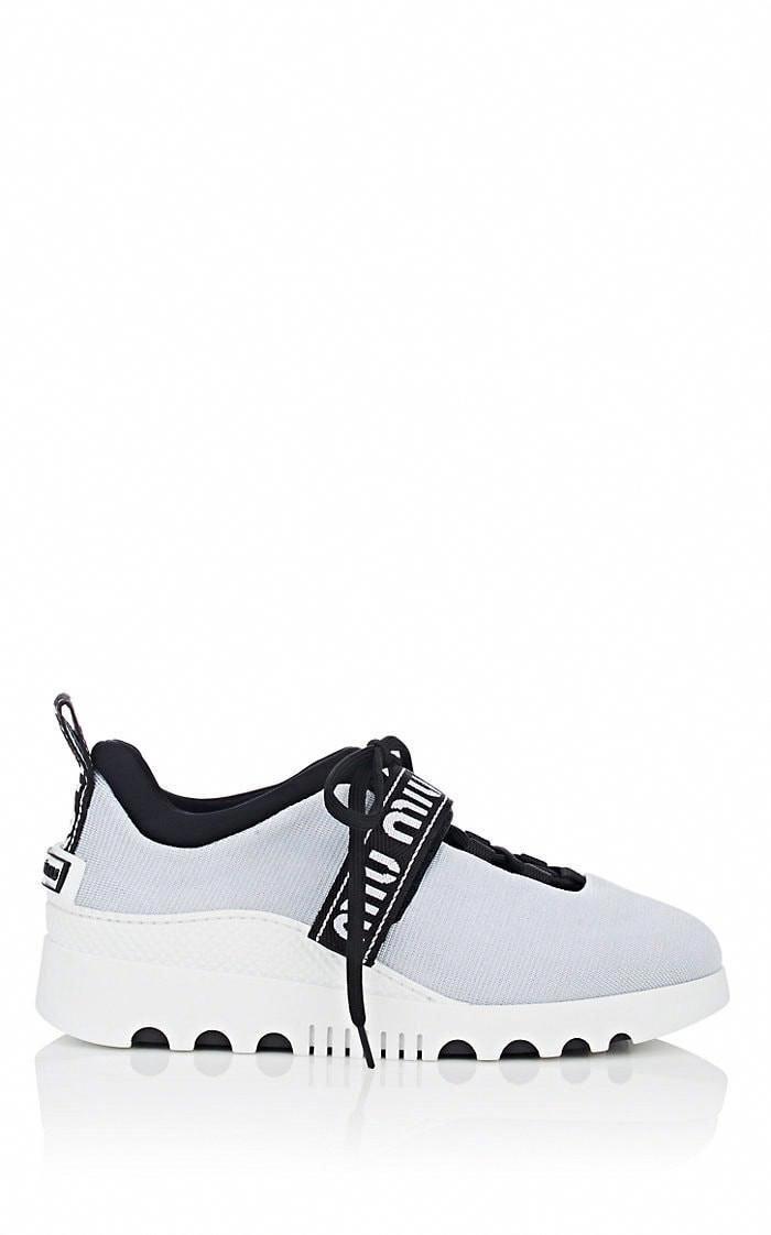7fe42a6311cf Miu Logo-Strap Platform Sneakers - 10 Light Blue  MiuMiu