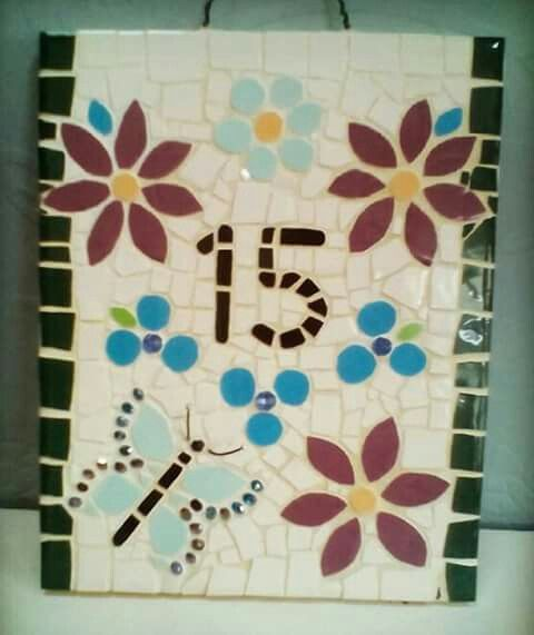 20x25 cm Mosaic House Number 15, Flowers