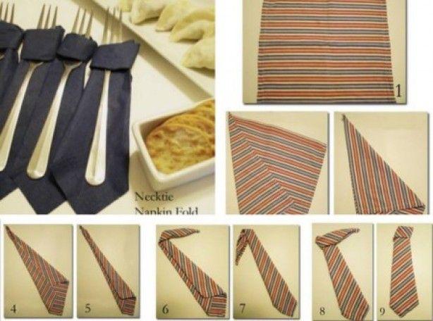...Servetten in de vorm van een stropdas....  Voor een feest op werk of voor een kinderfeestje van een jongen. heel cool !