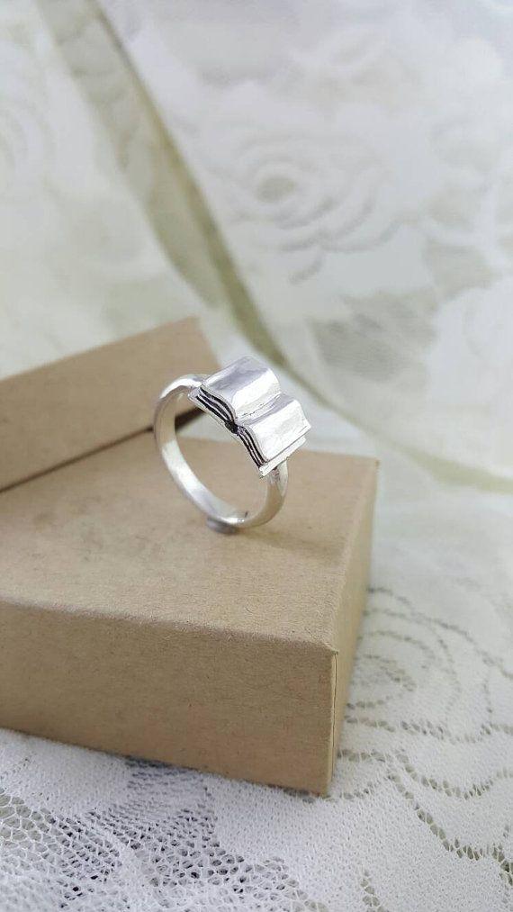 Open boek-Ring in Sterling Zilver, handgemaakte zilveren boek ring, boek minnaar ring, geek sieraden, dol op lezen, bookworm ring, cadeau voor leraar