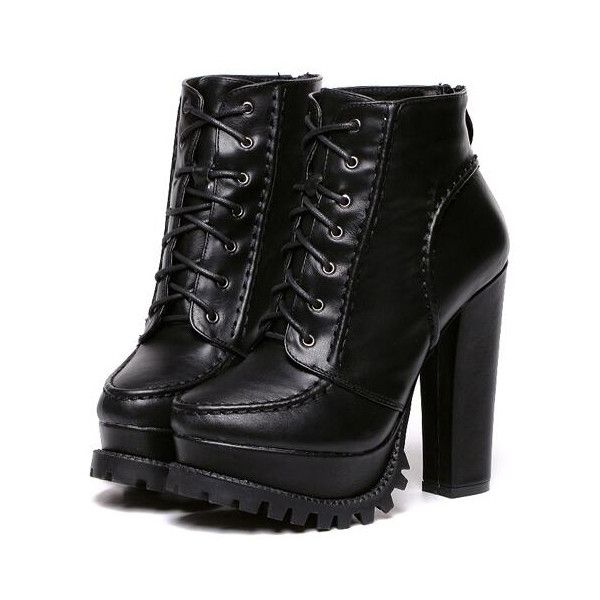 f0c6efe8ed SheIn(sheinside) Black Chunky High Heel Hidden Platform Boots ($35) ❤ liked  on Polyvore featuring shoes, boots, ankle booties, heels, black…