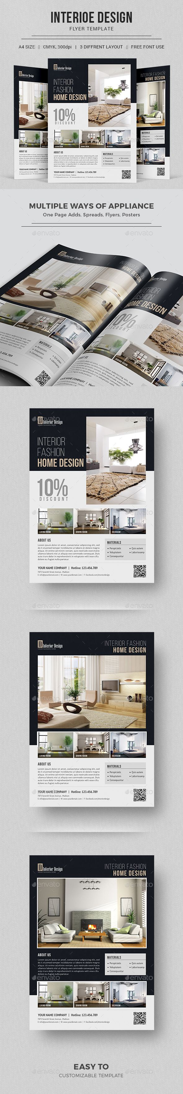 #InteriorDesignFlyer - Interior Design PSD Flyer Template | Interior Decoration Flyer | Instant Download https://graphicriver.net/item/interior-design-flyer/17620430?ref=themedevisers