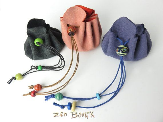 Mini Bourse Cuir Petite Bourse Cuir Véritable Perles par ZenBoutik