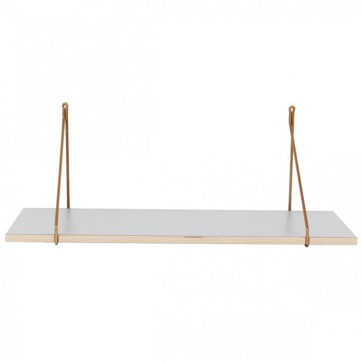 Grey Hanging Shelf With Brass Brackets Style Tray A