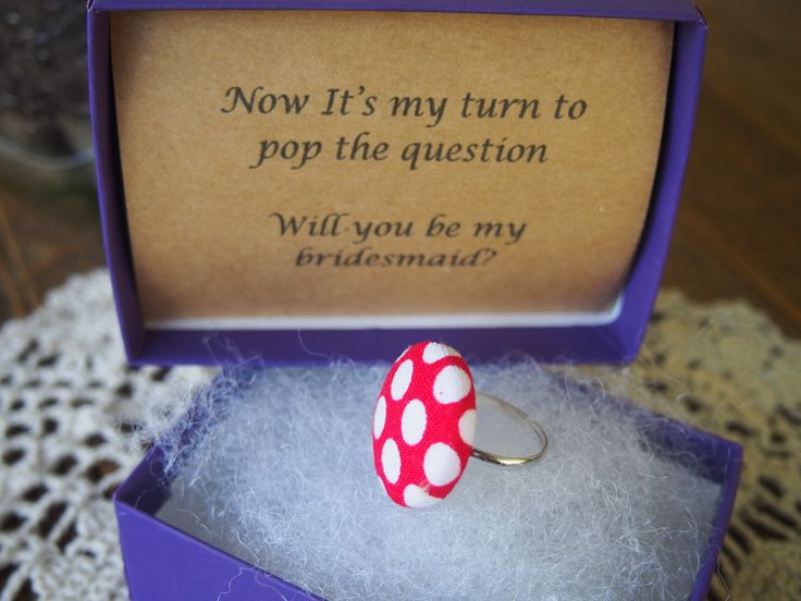 Pop the question to the girls that mean the most to you with a fabric covered button ring. #bridesmaid #personalised #handmade #gift