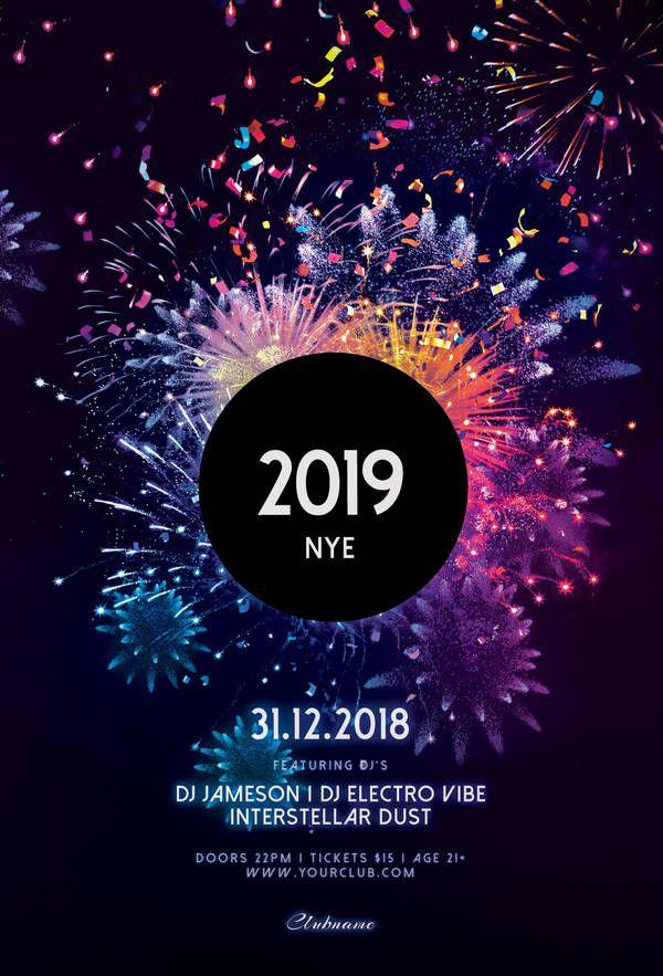 New Year Flyer Christmas Poster Design Event Poster Design Fireworks Design