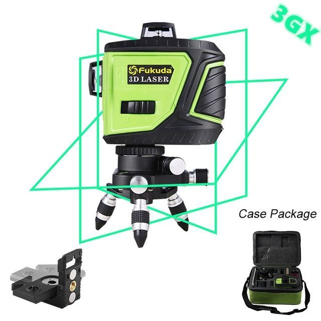 Fukuda Brand 12lines 3d 3gx Laser Level Self Leveling 360 Horizontal And Vertical Cross Super Powerful Green Laser Beam